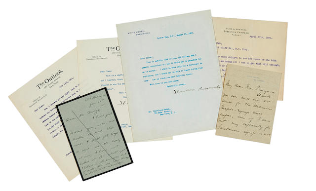 """ROOSEVELT, THEODORE. 1858-1919. 22 Typed Letters and Notes Signed, and one Autograph Letter Signed (all """"Theodore Roosevelt"""" and """"T. Roosevelt""""), mostly to Cleveland H. Dodge (""""Dear Cleve""""), but also to William E. Dodge (""""Mr. Dodge""""),"""