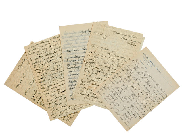 "FELL, MARIAN. 1886-1935. 6 Autograph Letters Signed (""Marian Fell""), and one partial letter, to various Dodge family members,"