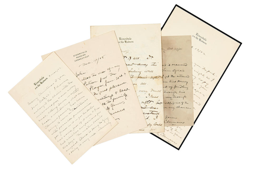 "CLEMENS, SAMUEL LANGHORNE. 1835-1910. 6 Autograph Letters Signed (""S.L. Clemens"") to William E. Dodge, Jr. (one to ""Miss Julia,"" probably Julia Parish Dodge, his grand-daughter),"