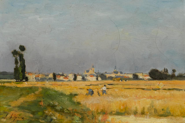 Stanislas Lépine (French, 1835-1892) La moisson aux environs de Caen 6 x 8 3/4in (15.2 x 22.3cm)