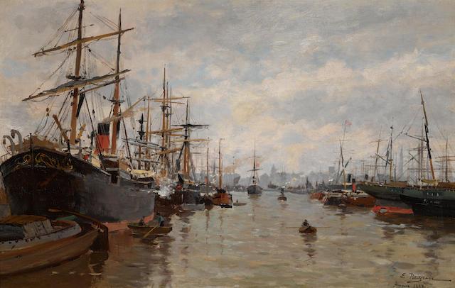 Edmond Marie Petitjean (1844-1925) Navires au Port d'Anvers 15 x 23 1/2in (38.2 x 59.8cm)