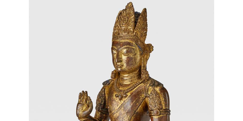 A GILT COPPER ALLOY FIGURE OF MANJUSHRI NEPAL, 9TH/10TH CENTURY