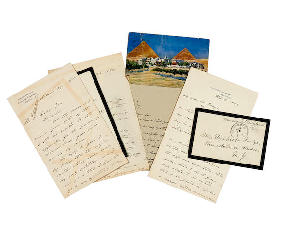 """CLEVELAND, GROVER. 1837-1908. 8 Autograph Letters Signed (""""Grover Cleveland""""), 5 of them to William E. Dodge, Jr, and one to Cleveland E. Dodge,"""