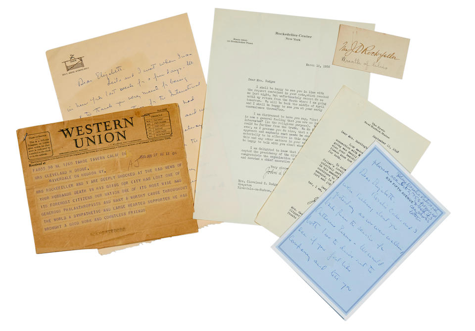 ROCKEFELLER FAMILY. An archive of 30 Typed and Autograph Letters Signed, primarily from John D., Jr, but also John D., Sr., Mary and Abby A. Rockefeller,