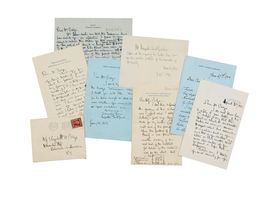 """SAINT GAUDENS, AUGUSTUS. 1848-1907. 10 Autograph Letters Signed and Letters Signed (""""Augustus Saint Gaudens"""") to William E. Dodge, and then to Cleveland H. Dodge and  Sarah Tappan Hoadley Dodge,"""