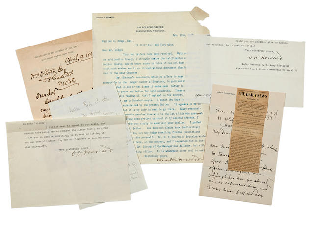 """HOWARD, OLIVER OTIS. 1830-1909.  6 Autograph Letters Signed and one Typed Letter Signed (""""O.O. Howard""""), to William E. Dodge, Jr, primarily on the subject of an ambassadorship to Turkey,"""