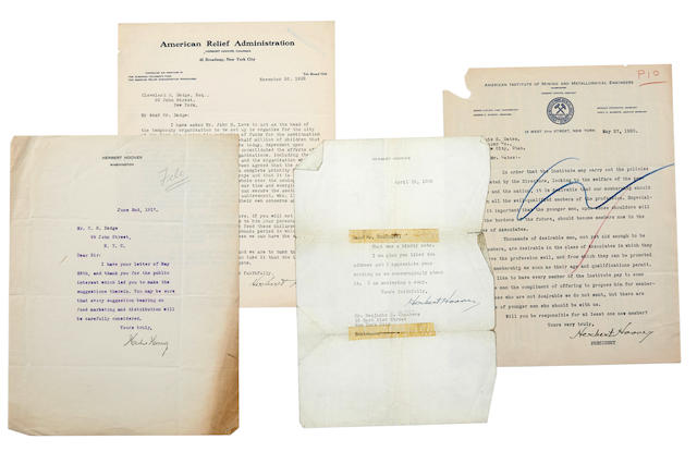 """HOOVER, HERBERT. 1874-1964 7 Typed Letters Signed (""""Herbert Hoover""""), with an additional two signed secretarially, mostly to Cleveland H. Dodge,"""
