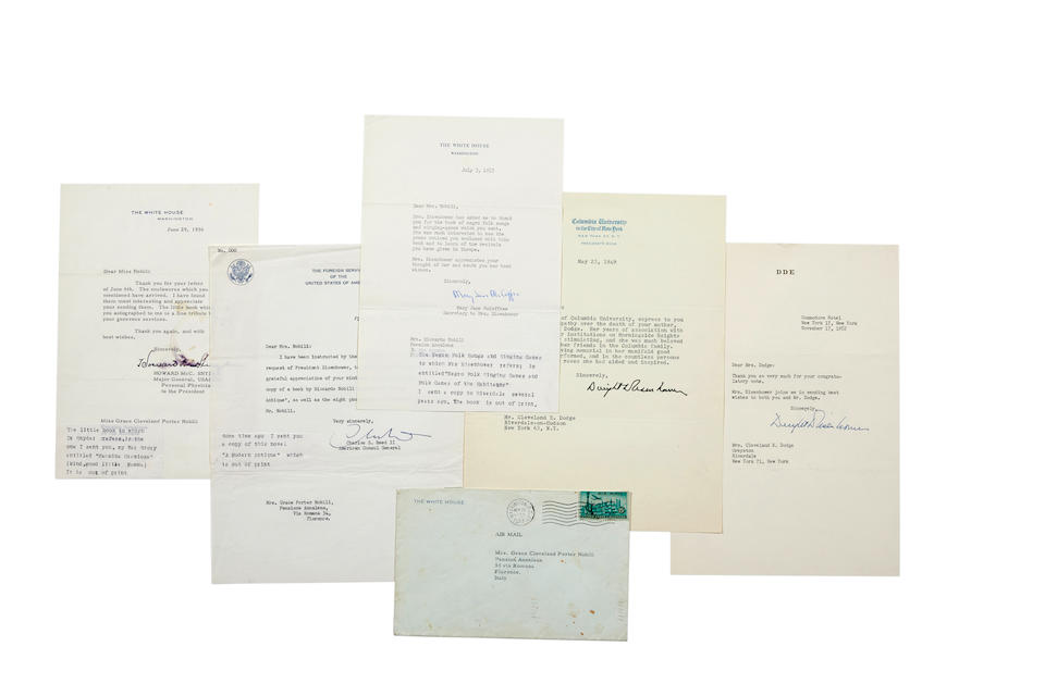 "EISENHOWER, DWIGHT D. 1890-1969. 7 Typed Letters Signed (""Dwight D. Eisenhower""), 4 as president, to Cleveland E. Dodge and Mrs. Dodge, and Grace Porter Nobili, 7 pp total,"