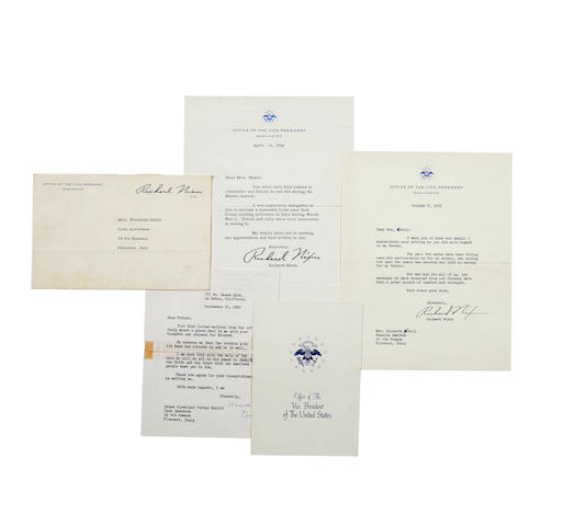 "NIXON, RICHARD M. 1913-1994. 11 Typed Letters Signed from Richard Nixon (6, as ""Richard Nixon""), Patricia Nixon (4, as ""Patricia Nixon""), and one from his mother (""Hannah M. Nixon""),"