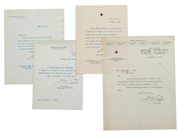 """TAFT, WILLIAM H. 1857-1930. 4 Typed Letters Signed (""""William H. Taft"""") to Cleveland H. Dodge,"""