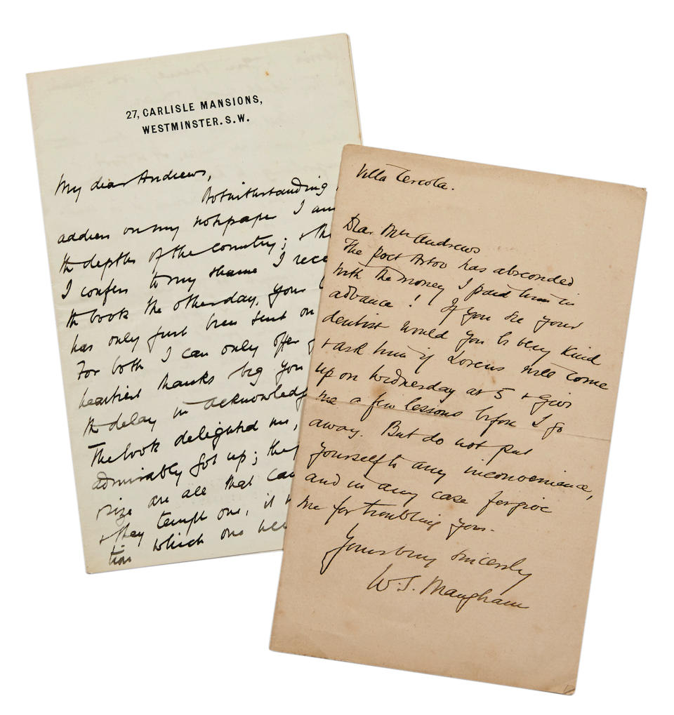 """MAUGHAM, W. SOMERSET. 1874-1965. 2 Autograph Letters Signed (""""W.S. Maugham"""" and """"W. Somerset Maugham""""),"""