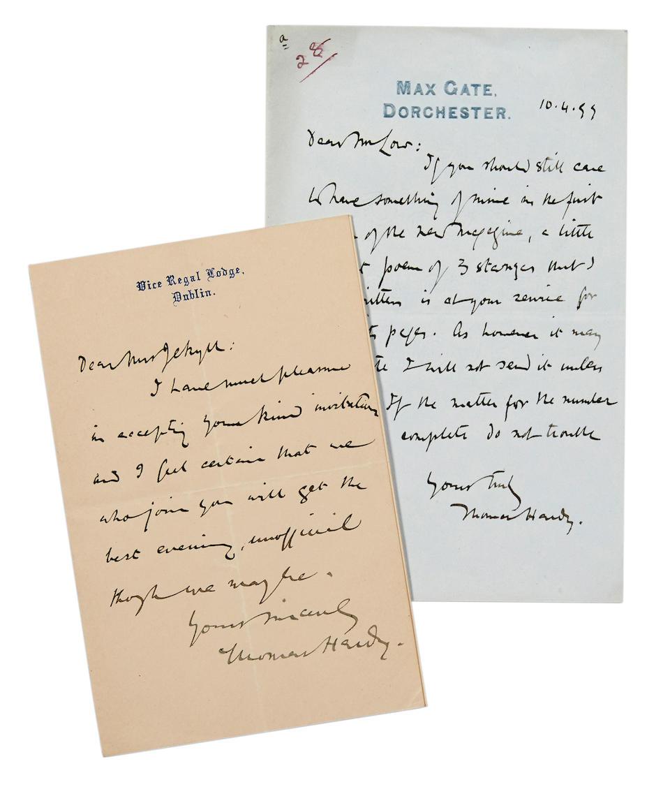 "HARDY, THOMAS. 1840-1928. 2 Autograph Letters Signed (""Thomas Hardy""):"