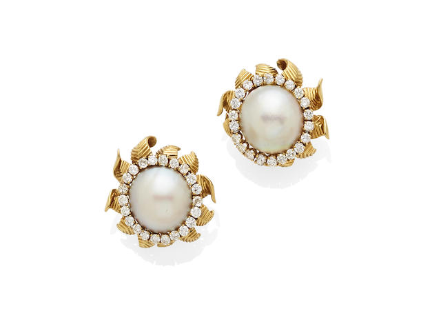 A pair of mabé pearl and diamond ear clips,  Van Cleef and Arpels,
