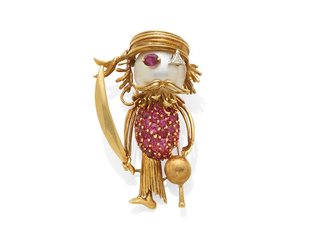 A cultured pearl, ruby and diamond pirate clip, French,