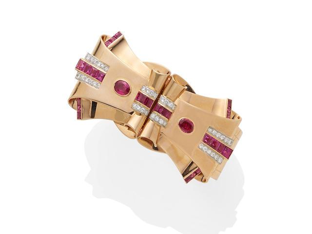 A ruby and diamond double clip/cuff,