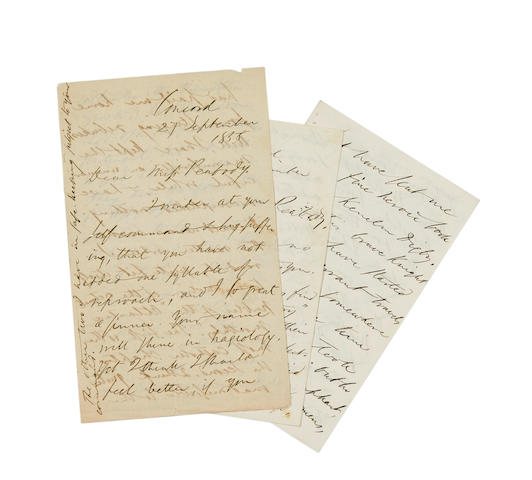 "EMERSON, RALPH WALDO. 1803-1882. 2 Autograph Letters Signed (""R.W. Emerson"") to ""Miss [Elizabeth Palmer] Peabody"" regarding ""our manuscript"" which Emerson was submitting to the Atlantic Monthly, 4 pp and 8 pp,"