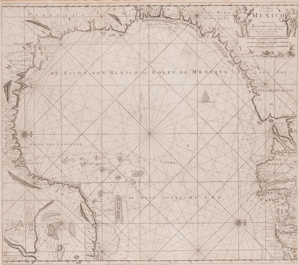 VAN KEULEN, GERARD. 1678-1726. Pas-Kaart Van de Golff van Mexico. Amsterdam: [1734].