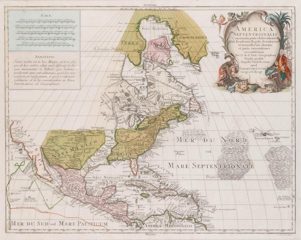 LOTTER, TOBIAS CONRAD. 1717-1777. America Septentrionalis. Augsburg: [1770].