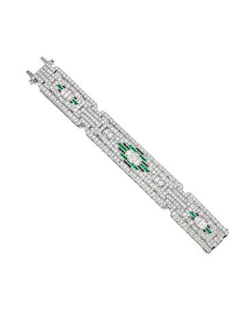 A very fine diamond, emerald and onyx bracelet,