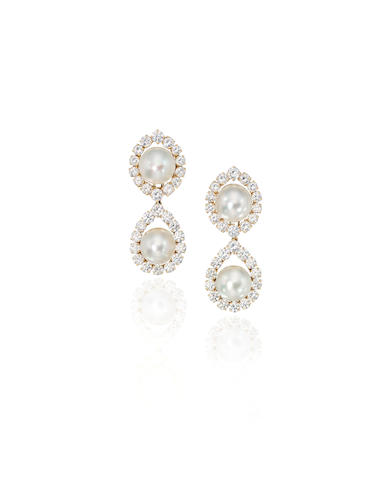 A pair of cultured pearl and diamond earclips, Van Cleef & Arpels