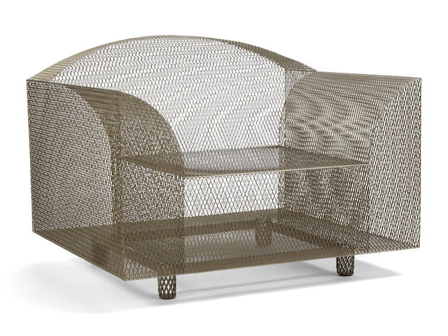 Shiro Kuramata (1934-1991) 'How High The Moon' Lounge Chairdesigned 1986-87for Vitra, nickel-plated steel mesh, applied manufacturer's labelheight 28 1/4in (71.8cm); width 37 3/8in (94.9cm); depth 32in (81.3cm)