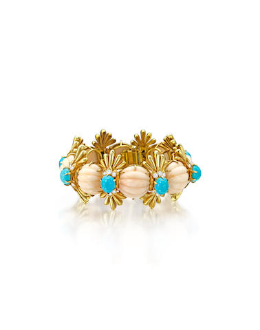 A coral, turquoise and diamond bracelet