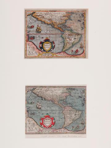 MERCATOR, GERARD. 1512-1594; and JODOCUS HONDIUS. 1563-1612. Americae Descrip. Amsterdam: [1608 and 1610].