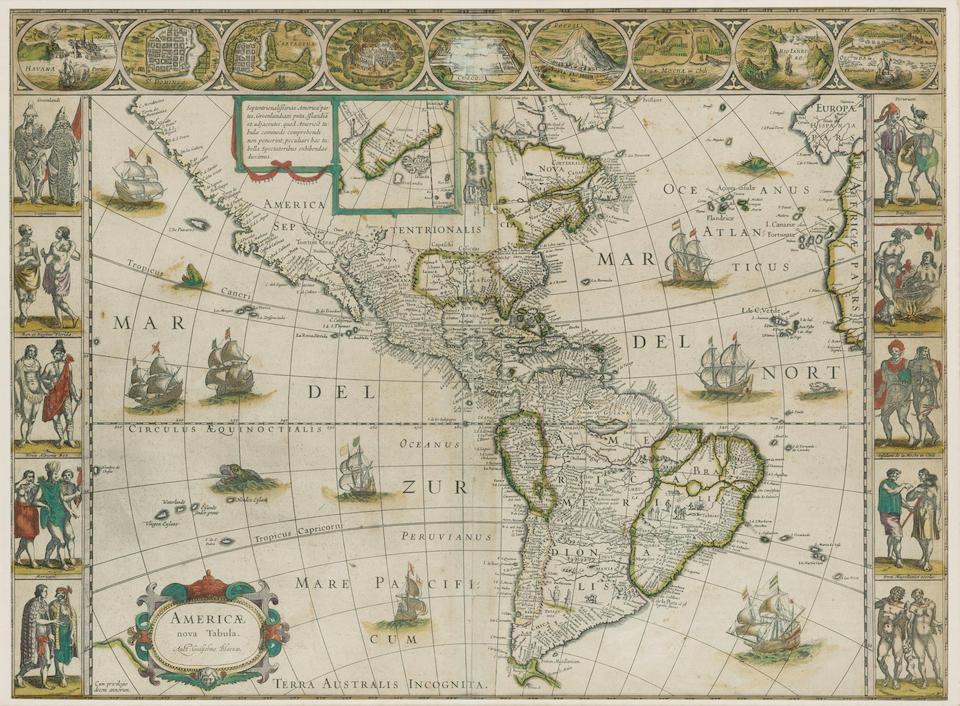 BLAEU, WILLEM. 1571-1638. Americae nova Tabula. [Amsterdam: c.1640].