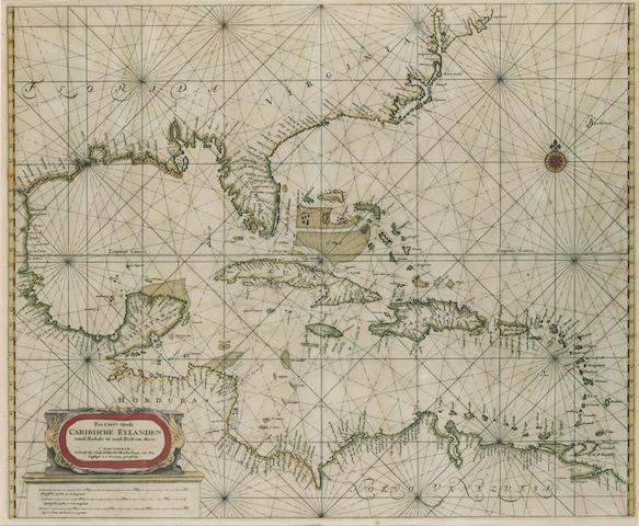 DONCKER, HENDRICK. 1626-1699. Pas caerte vande Caribische Eylanden, vande Barbados Tot Aende Bocht van Mexico. Amsterdam: [1672].