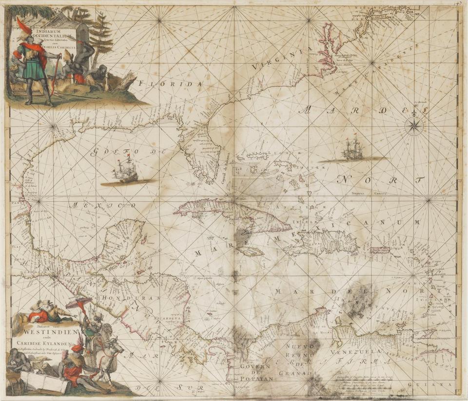 DE WIT, FREDERICK. 1629-1706. Indiarum Indiarum Occidentalium Tractus Littorales cum Insulis Caribicis. Paris: De Wit, [c.1680].