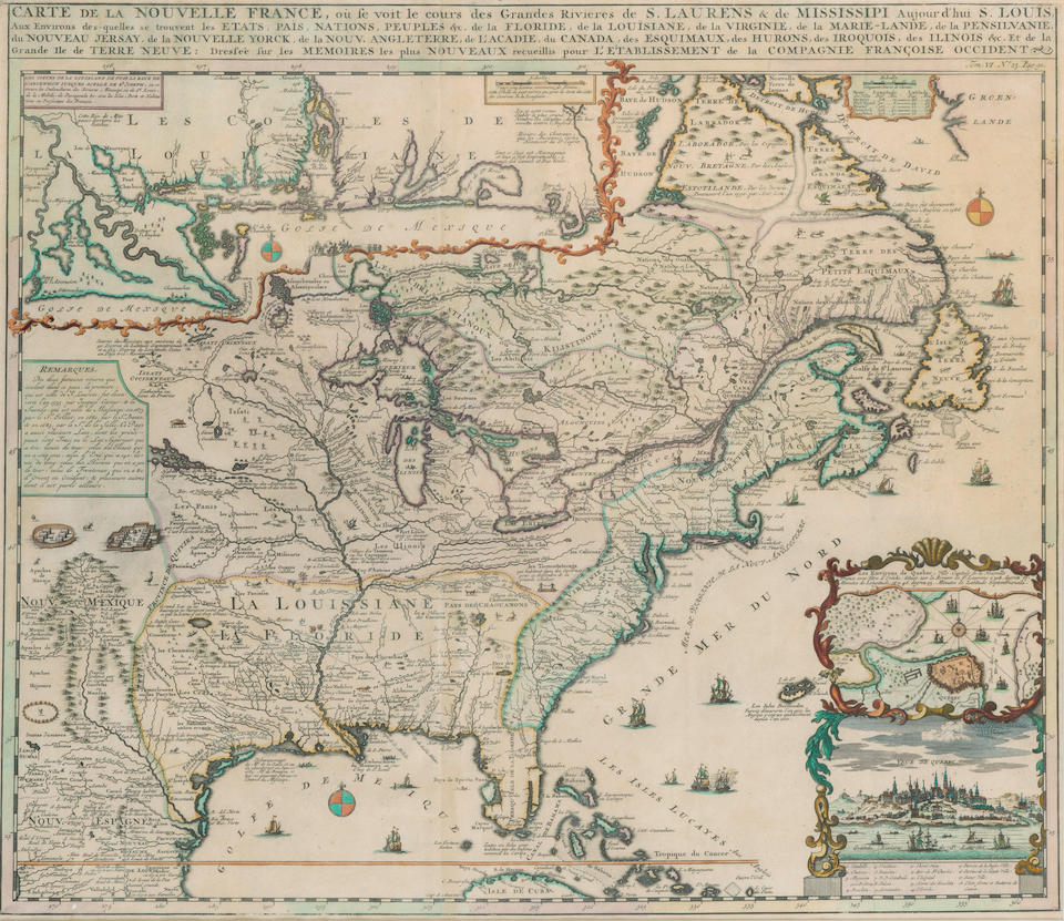 CHATELAIN, HENRI. 1684-1743. Carte De La Nouvelle France. [Amsterdam: 1719.]