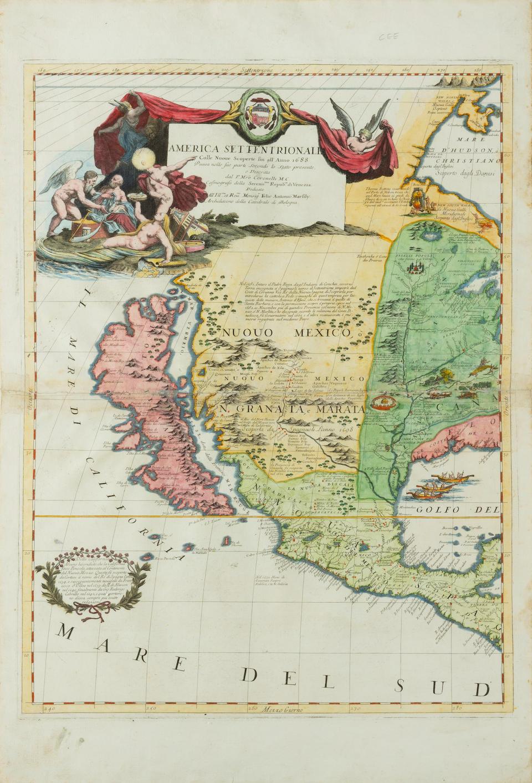 CORONELLI, VICENZO MARIA. 1650-1718. America Settentrionale Colle Nuoue Scoperto fin all' Anno 1688. Venice: 1688.
