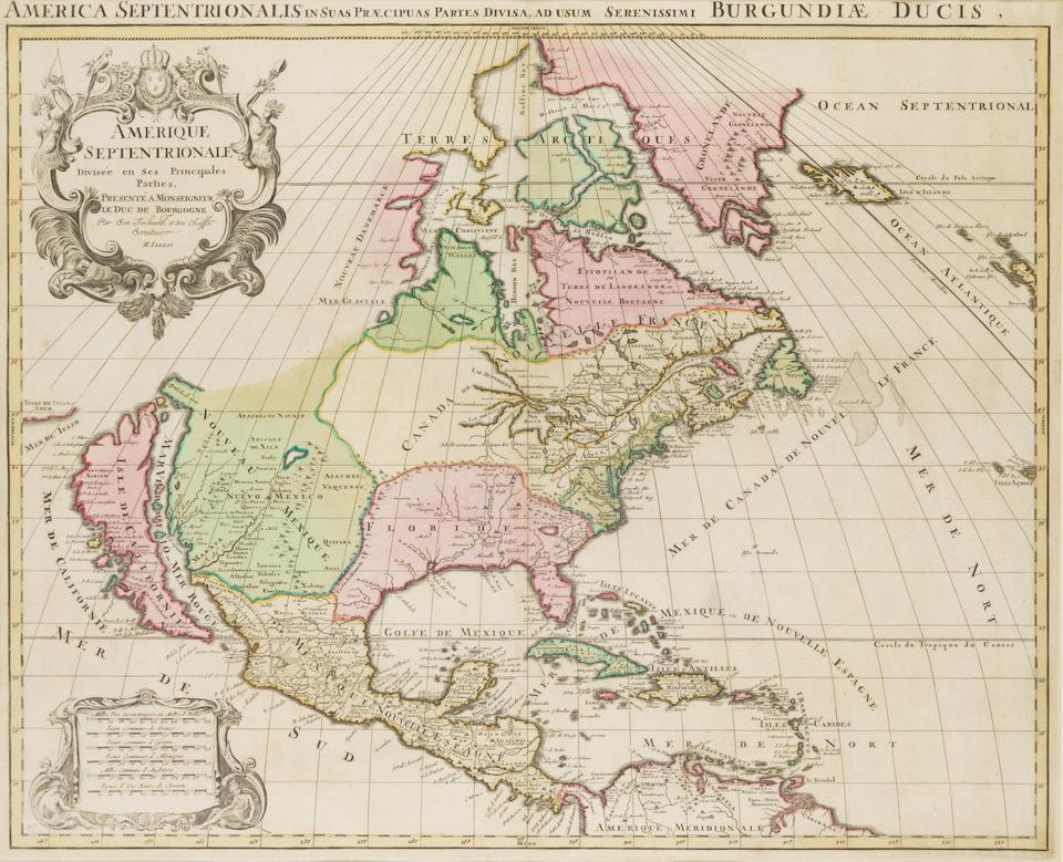 JAILLOT, ALEXIS HUBERT. C.1632-1712. Amerique Septentrionale Divisée en Ses Principales Parties. Paris: c.1726.