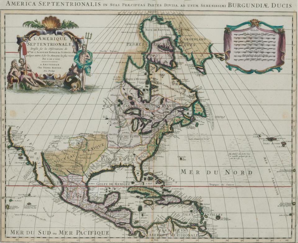 DE L'ISLE, GUILLAUME. 1675-1726. L'Amerique Septentrionale. Paris: c.1708.