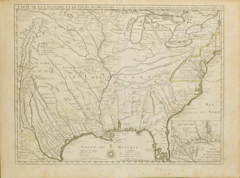 DE L'ISLE, GUILLAUME. 1675-1726. Carte de la Louisiane et du Cours du Mississippi. Paris: 1718.