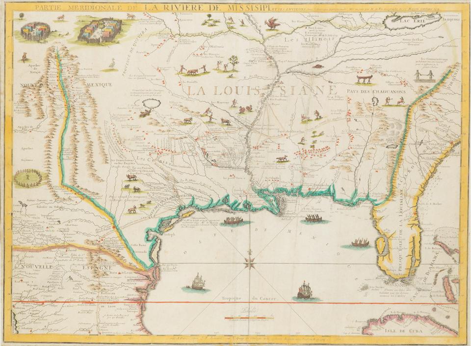 DE FER, NICOLAS. 1646-1720. Partie Meridionale de la Riviere de Mississipi, et ses environs. Paris: 1718.