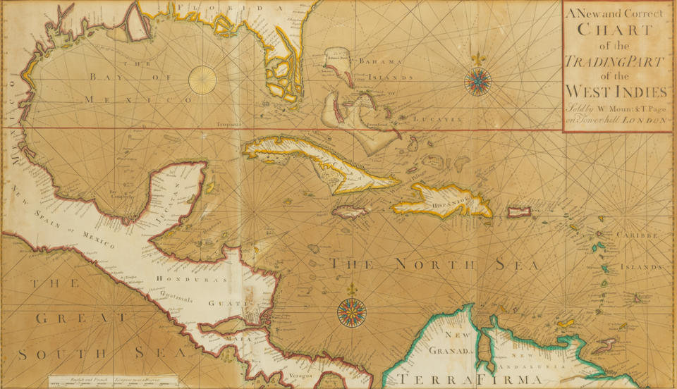 MOUNT, WILLIAM. 1688-1769; and THOMAS PAGE. 1704-1762. A New and Correct Chart of the Trading Part of the West Indies. Part of the West Indies. London, [1760].