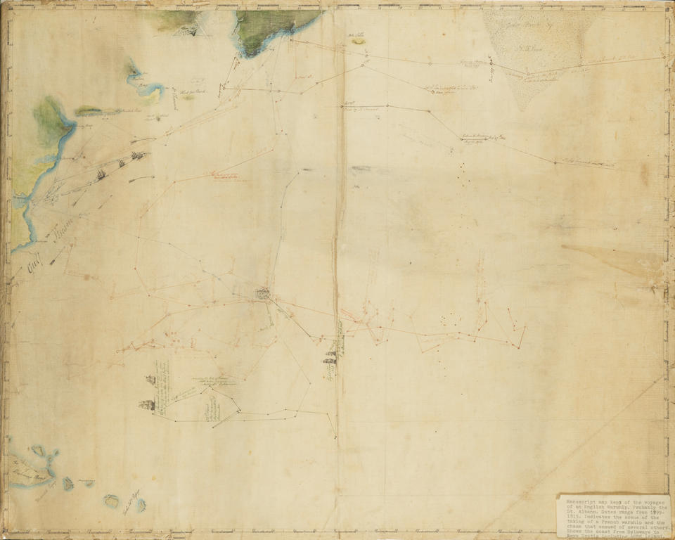 MANUSCRIPT CHART OF THE WESTERN ATLANTIC AND EASTERN AMERICAN SEABOARD.