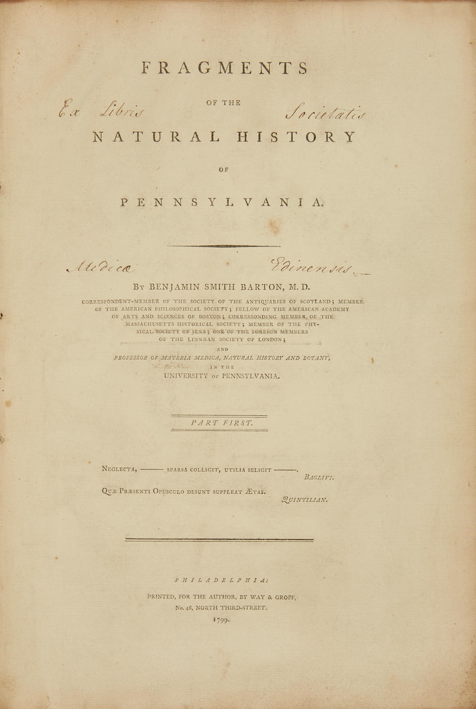 BARTON, BENJAMIN SMITH. 1766-1815. Fragments of the Natural History of Pennsylvania. Philadelphia: Printed for the Author by Way & Groff, 1799 .