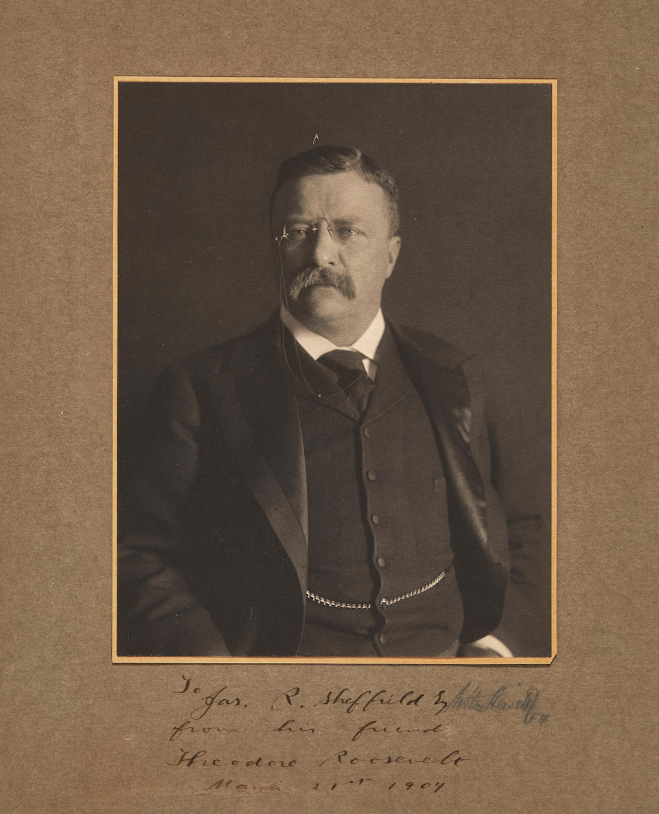 """AMERICAN PRESIDENTS. ROOSEVELT, THEODORE. 1858-1919. 1. Photograph Signed (""""Theodore Roosevelt"""") and inscribed,"""