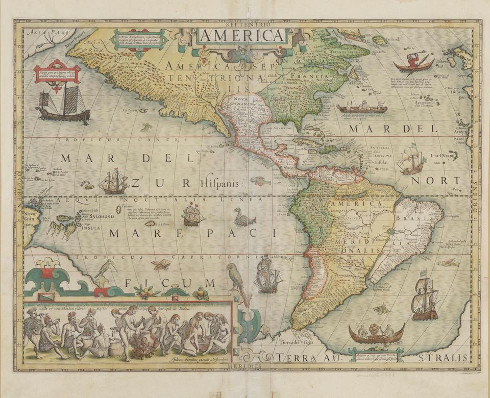 HONDIUS, JODOCUS. 1563-1612. America. Amsterdam: [1606 or later].