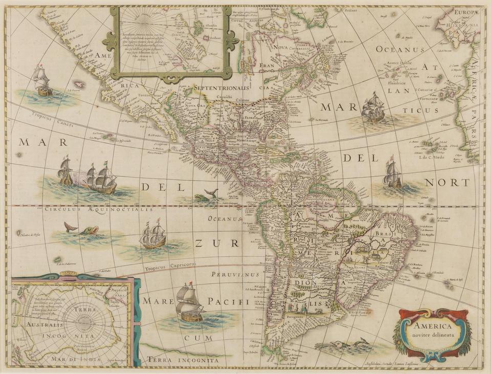HONDIUS, JODOCUS. 1563-162; AND JOANNES JANSSONIUS. 1588-1664.  America noviter delineata. Amsterdam: c.1652.