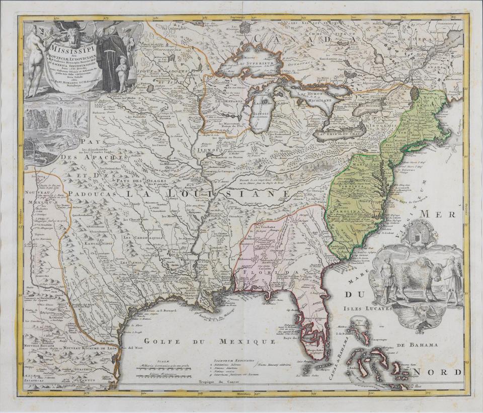 Homann, Johann Baptist. 1633-1724. Amplissimae Regionis Mississipi seu Provinciae Ludovicianae. Nuremberg: [1730].