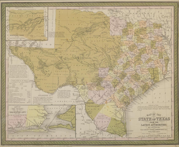 TEXAS MAPS. WILLIAMS, S.C.  Map of Texas from the most Recent authorities.  Philadelphia: 1845.