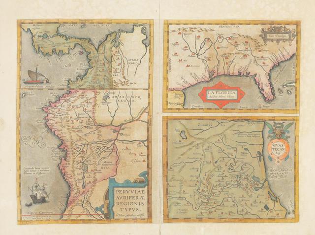 ORTELIUS, ABRAHAM. 1527-1598. La Florida; Peruviae: Guastecan. [Antwerp: 1584 or later.]