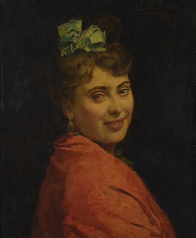 Raimundo de Madrazo y Garretta (Spanish, 1841-1920) Portait of a lady with a red shawl 22 x 18in (55.9 x 45.7cm)