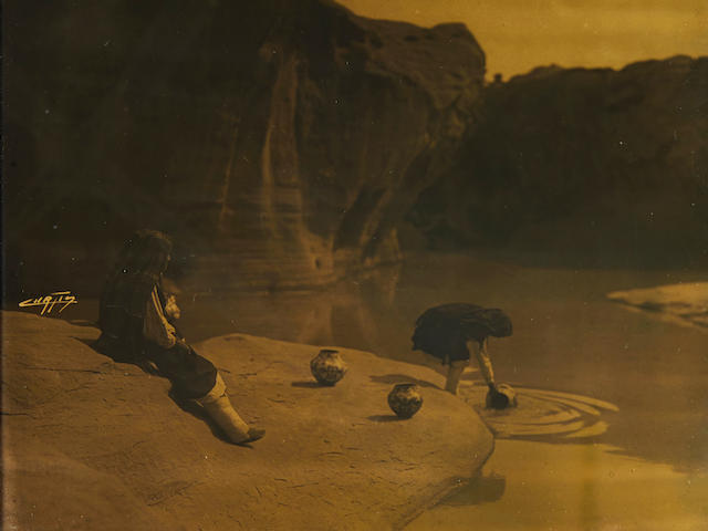 "An Edward S. Curtis orotone, ""At the Old Well of Acoma"""