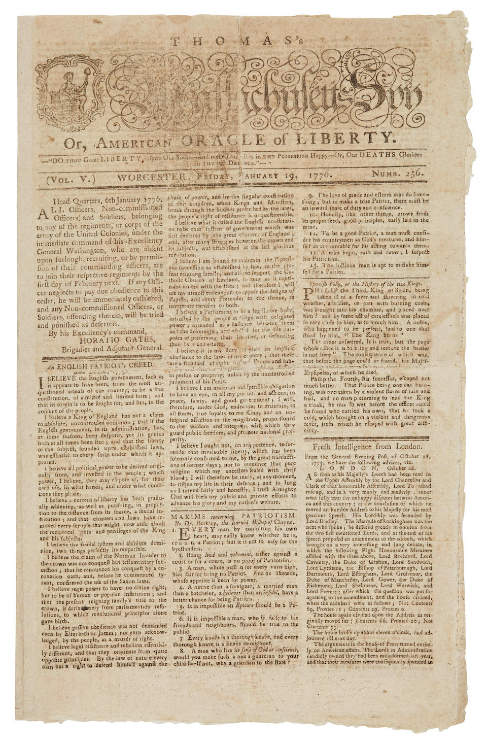 MASSACHUSETTS SPY. Revere, Paul, Masthead. The Massachusetts Spy, or American Oracle of Liberty, Vol 5, Number 256. Worcester: Friday January 19, 1776.