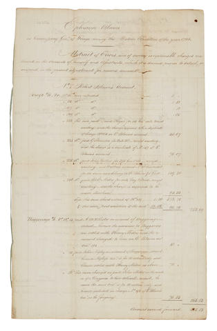 "WHISKEY REBELLION. BLAINE, EPHRAIM. 1741-1804.  Mansucript document, being an ""Abstract of Errors, and of sundry exceptionable charges..."" of ""Ephraim Blaine as Commissary Gen'l of Forage during the Western Expedition of the Year 1794,"""
