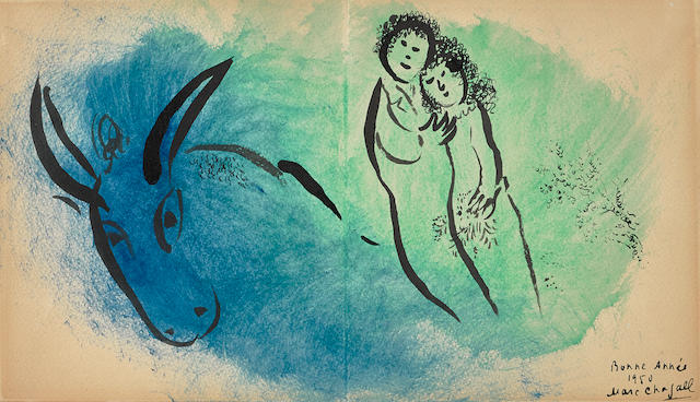 MARC CHAGALL (1887-1985) Couple avec l'âne 6 1/4 x 11 in (15.9 x 27.9 cm) (Executed in 1950)